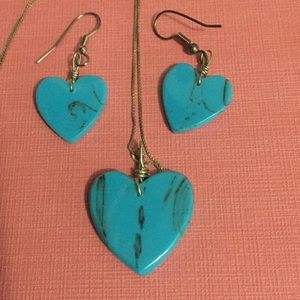 Jewelry - Turquoise and SS necklace and earrings